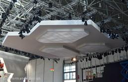 Messeobjekt: Decke aus Stretchstoff B1